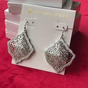 Kendra Scott Kirsten Drop Earrings Silver Filigree